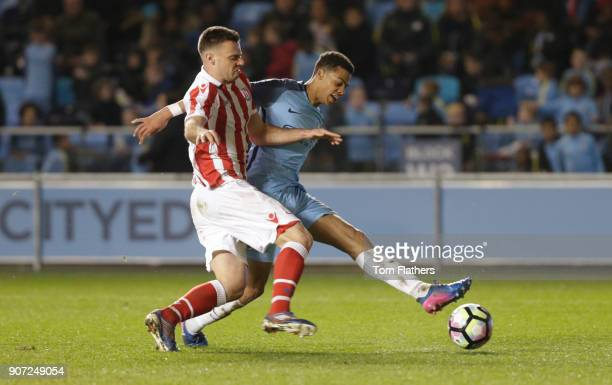 Manchester City Under 18's v Stoke City Under 18's FA Youth Cup Semi Final Academy Stadium Manchester City's Lukas Nmecha scores against Stoke