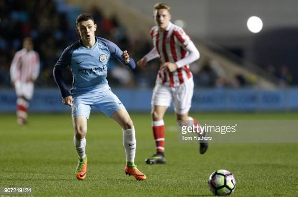 Manchester City Under 18's v Stoke City Under 18's FA Youth Cup Semi Final Academy Stadium Manchester City's Phil Foden in against Stoke