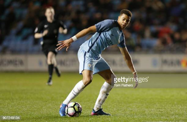 Manchester City Under 18's v Stoke City Under 18's FA Youth Cup Semi Final Academy Stadium Manchester City's Lukas Nmecha in action against Stoke