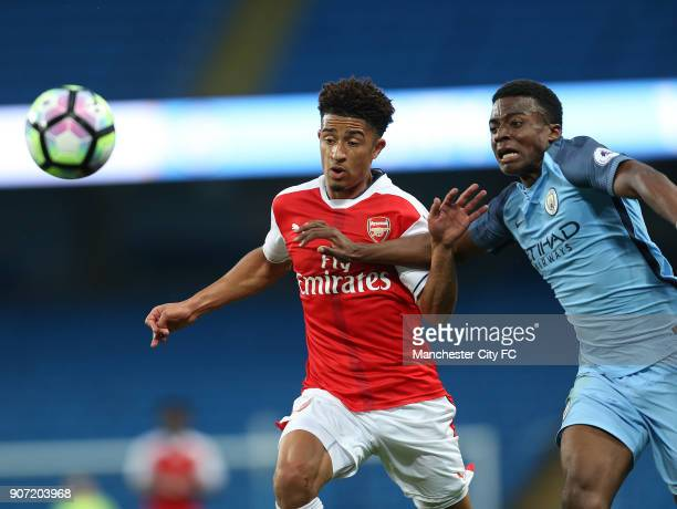 Manchester City Under23 v Arsenal Under23 Premier League 2 Division 1 Etihad Stadium Manchester City's Javairo Dilrosun and Arsenal's Chris Willock