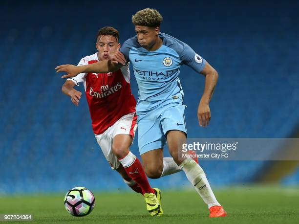 Manchester City Under23 v Arsenal Under23 Premier League 2 Division 1 Etihad Stadium Manchester City's Marcus Wood and Arsenal's Ismeal Bennacer