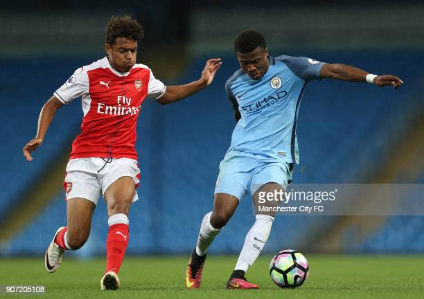 Manchester City Under23 v Arsenal Under23 Premier League 2 Division 1 Etihad Stadium Manchester City's Javairo Dilrosun and Arsenal's Donyell Malen