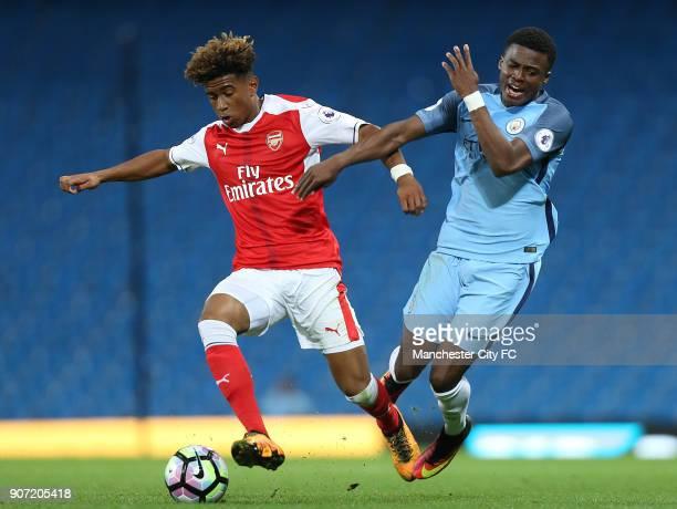 Manchester City Under23 v Arsenal Under23 Premier League 2 Division 1 Etihad Stadium Manchester City's Javairo Dilrosun and Arsenal's Reiss Nelson