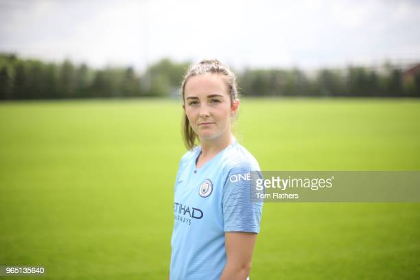 Manchester City unveil new signing Caroline Weir at Manchester City Football Academy on May 31 2018 in Manchester England