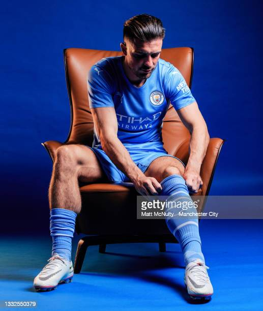 Manchester City unveil new signing Jack Grealish at Manchester City Football Academy on August 05, 2021 in Manchester, England.