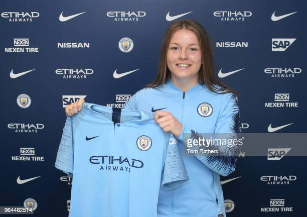 Manchester City unveil new signing Lauren Hemp at Manchester City Football Academy on May 30 2018 in Manchester England