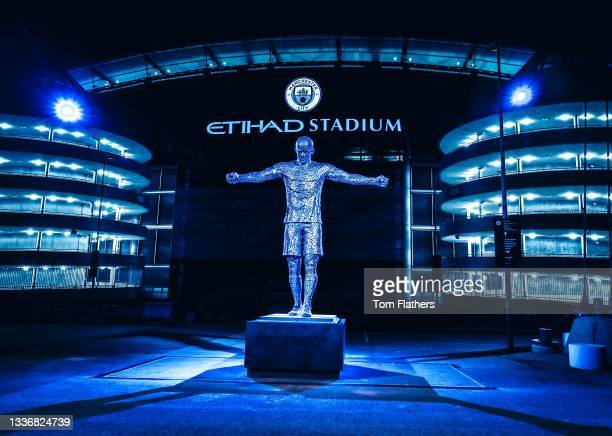 Manchester City unveil statue of Vincent Kompany at Etihad Stadium on August 28, 2021 in Manchester, England.
