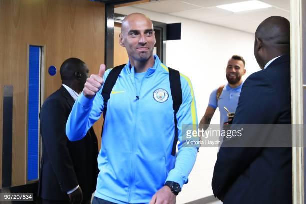 Manchester City v AFC Bournemouth Premier League Etihad Stadium Manchester City's Willy Caballero arriving at the Etihad Stadium