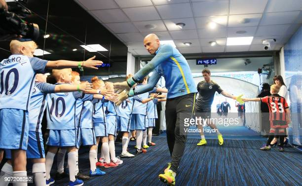 Manchester City v AFC Bournemouth Premier League Etihad Stadium Manchester City's Willy Caballero in the tunnel with the mascots