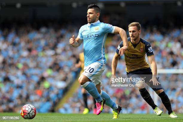Manchester City v Arsenal Barclays Premier League Etihad Stadium Manchester City's Sergio Aguero and Arsenal's Aaron Ramsey in action during the...
