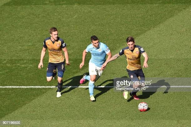 Manchester City v Arsenal Barclays Premier League Etihad Stadium Manchester City forward Sergio Aguero chases down Arsenal midfielder Aaron Ramsey...