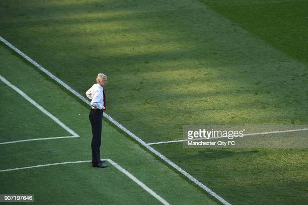 Manchester City v Arsenal Barclays Premier League Etihad Stadium Arsenal manager Arsene Wenger looks on