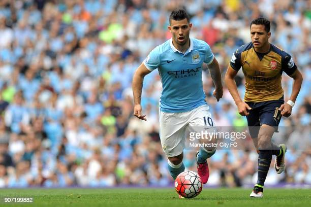 Manchester City v Arsenal Barclays Premier League Etihad Stadium Manchester City's Sergio Aguero and Arsenal's Alexis Sanchez in action during the...
