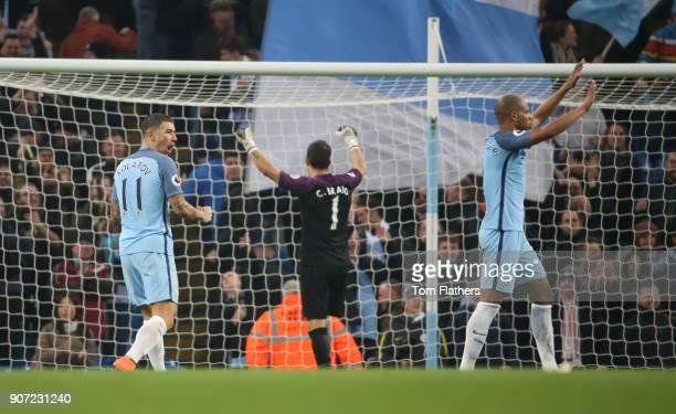 Manchester City v Arsenal Premier League Etihad Stadium Manchester City's Aleksandar Kolarov celebrates after beating Arsenal