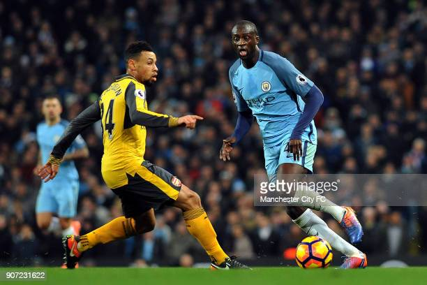 Manchester City v Arsenal Premier League Etihad Stadium Manchester City's Yaya Toure and Arsenal's Francis Coquelin in action during the Barclay's...