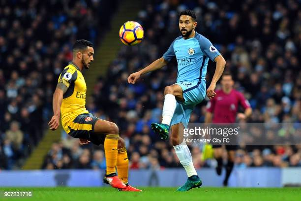 Manchester City v Arsenal Premier League Etihad Stadium Manchester City's Gael Clichy and Arsenal's Theo Walcott in action during the Barclay's...