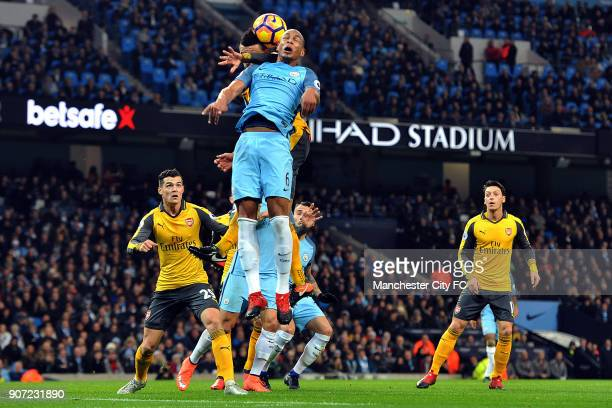 Manchester City v Arsenal Premier League Etihad Stadium Manchester City's Fernando and Arsenal's Francis Coquelin in action during the Barclay's...