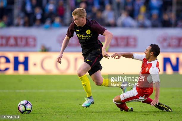 Manchester City v Arsenal PreSeason Friendly Ullevi Stadium Manchester City's Kevin de Bruyne and Arsenal's Santi Cazorla battle for the ball