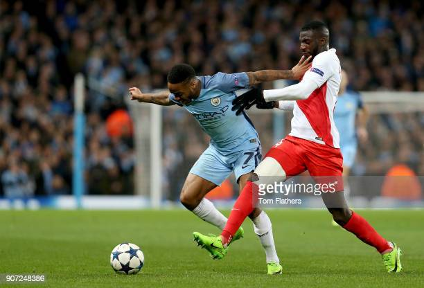 Manchester City v AS Monaco UEFA Champions League Round of 16 First Leg Etihad Stadium Manchester City's Raheem Sterling and Monaco's Tiemoue...