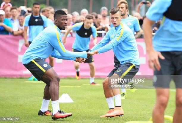 Manchester City v Bayern Munich Pre Season Friendly Allianz Arena Manchester City's Kelechi Iheanacho and Bersant Celina in training