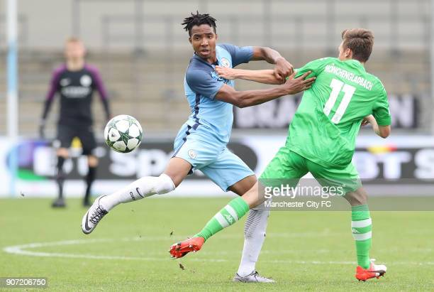Manchester City v Borussia Monchengladbach UEFA Youth League Group C Manchester City Academy Stadium Manchester City'sDemeaco Duhaney battles for the...