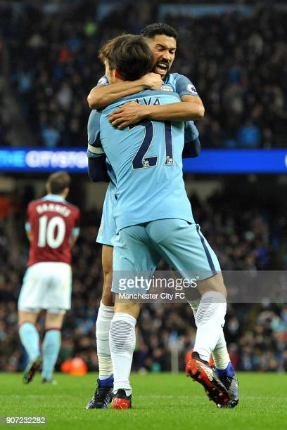 Manchester City v Burnley Premier League Etihad Stadium Manchester City's Gael Clichy celebrates scoring the opening goal with David Silva during the...