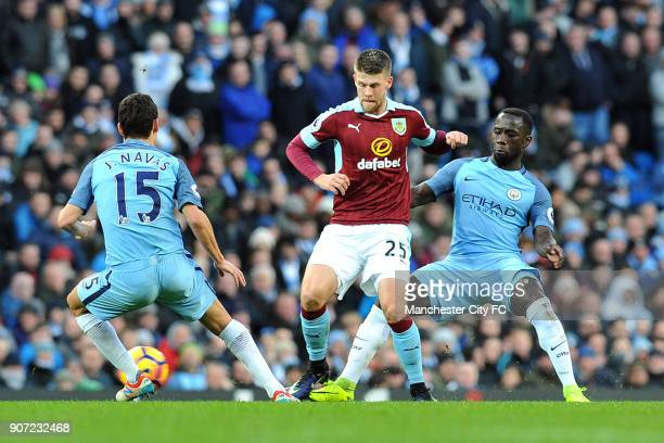 Manchester City v Burnley Premier League Etihad Stadium Manchester City's Bacary Sagna and Jesus Navas and Burnley's Johann Guomundsson in action...