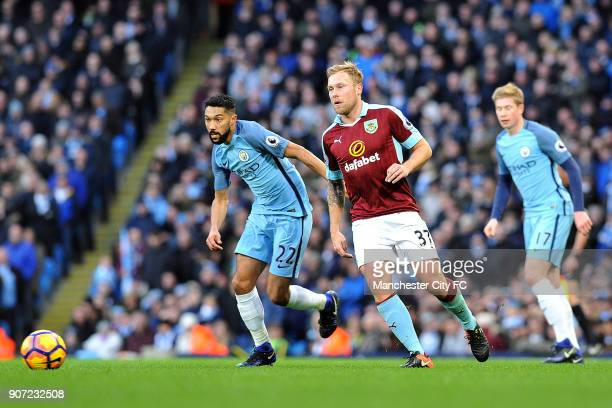 Manchester City v Burnley Premier League Etihad Stadium Manchester City's Gael Clichy and Burnley's Scott Arfield in action during the Barclay's...