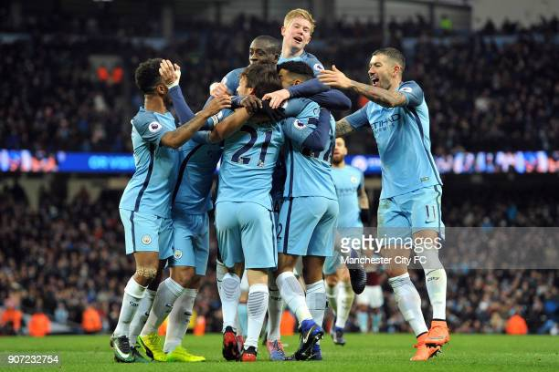 Manchester City v Burnley Premier League Etihad Stadium Manchester City's Gael Clichy celebrates scoring the opening goal during the Barclay's...