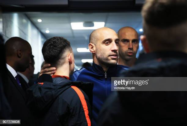Manchester City v Celtic UEFA Champions League Group C Etihad Stadium Manchester City's Pablo Zabaleta hugging Phil Foden in the tunnel before his...
