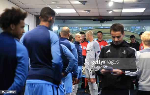 Manchester City v Celtic UEFA Champions League Group C Etihad Stadium Manchester City's Pablo Zabaleta talks with fellow team mate Willy Caballero...