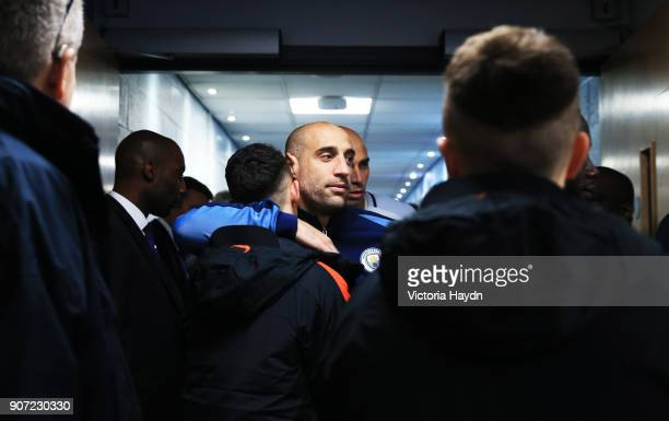 Manchester City v Celtic UEFA Champions League Group C Etihad Stadium Manchester City's Pablo Zabaleta hugs Phil Foden on his first time with the...