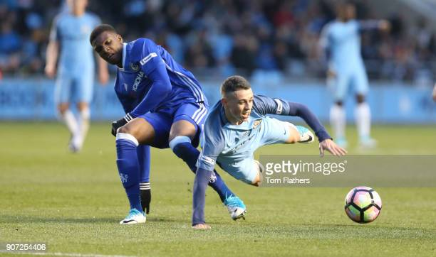 Manchester City v Chelsea FA Youth Cup Final First Leg City Football Academy Manchester City's Phil Foden in action in the FA Youth Cup Final against...