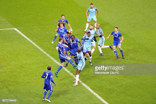 Manchester City v Chelsea Premier League Etihad Stadium Manchester City's Kelechi Iheanacho and Chelsea's Nathaniel Chalobah in action during the...