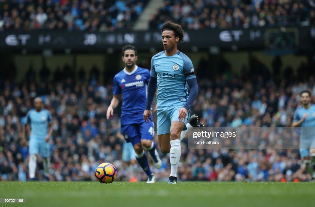 Manchester City v Chelsea, Premier League, Etihad Stadium, Manchester City's Leroy Sane and Chelsea's Cesc Fabregas in action