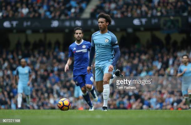 Manchester City v Chelsea Premier League Etihad Stadium Manchester City's Leroy Sane and Chelsea's Cesc Fabregas in action
