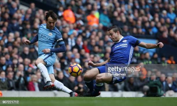 Manchester City v Chelsea Premier League Etihad Stadium Manchester City's David Silva and Chelsea's Cesar Azpilicueta in action