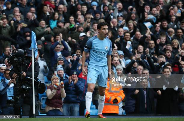 Manchester City v Chelsea Premier League Etihad Stadium Manchester City's Jesus Navas celebrates the first goal against Chelsea A78Q3744jpg