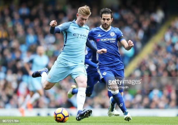Manchester City v Chelsea Premier League Etihad Stadium Manchester City's Kevin De Bruyne and Chelsea's Fabregas