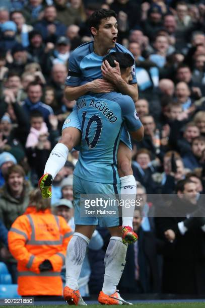 Manchester City v Chelsea Premier League Etihad Stadium Manchester City's Jesus Navas celebrates the first goal against Chelsea with Sergio Aguero...