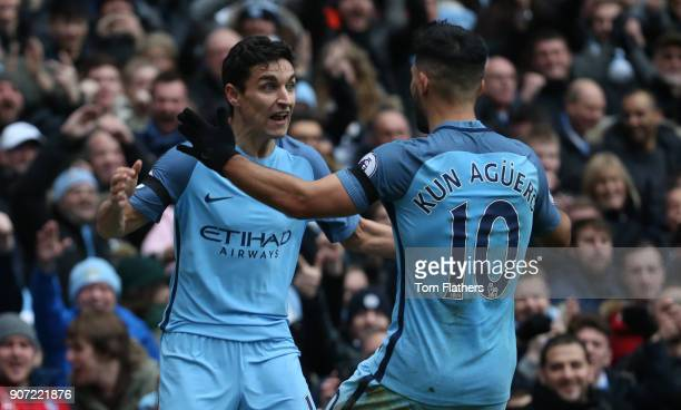 Manchester City v Chelsea Premier League Etihad Stadium Manchester City's Jesus Navas celebrates the first goal against Chelsea with Sergio Aguerojpg