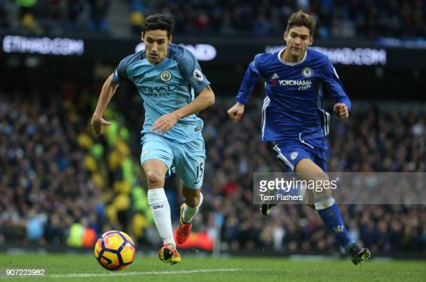 Manchester City v Chelsea Premier League Etihad Stadium Manchester City's Jesus Navas and Chelsea's Marcos Alonso in action