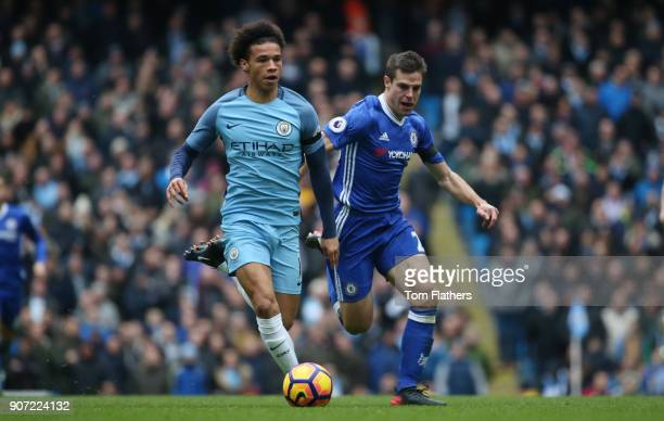 Manchester City v Chelsea Premier League Etihad Stadium Manchester City's Leroy Sane and Chelsea's Cesar Azpilicueta in action