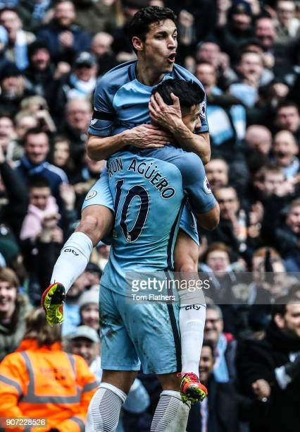 Manchester City v Chelsea Premier League Etihad Stadium Manchester City's Sergio Aguero and Jesus Navas celebrate scoring against Chelsea