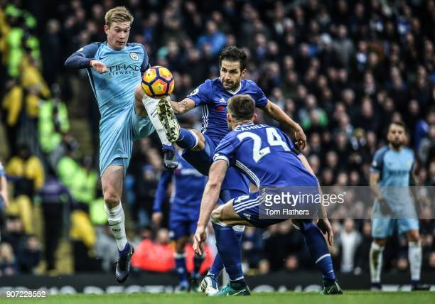 Manchester City v Chelsea Premier League Etihad Stadium Manchester City's Kevin De Bruyne and Chelsea's Cesc Fabregas battle for the ball