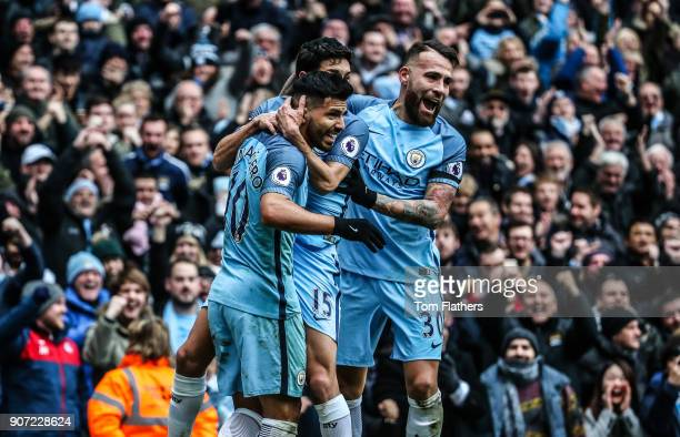 Manchester City v Chelsea Premier League Etihad Stadium Manchester City's Sergio Aguero Jesus Navas and Nicholas Otamendi celebrate scoring against...