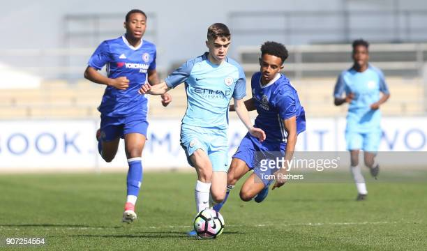 Manchester City v Chelsea U18 Premier League City Football Academy Manchester City's Iker Pozo in action against Chelsea