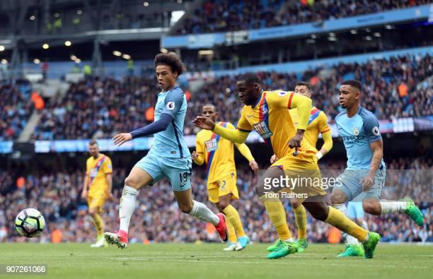 Manchester City v Crystal Palace Premier League Etihad Stadium Manchester City's Leroy Sane and Crystal Palace's Jeff Schlupp