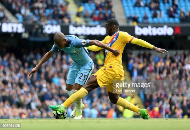 Manchester City v Crystal Palace Premier League Etihad Stadium Manchester City's Fernandinho and Crystal Palace's Jeff Schlupp