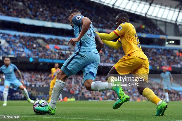 Manchester City v Crystal Palace Premier League Etihad Stadium Manchester City's Gabriel Jesus and Crystal Palace's Jeffrey Schlupp in action